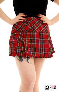 Womens Ladies High Waist Tartan Plaid Check Billie Scottish Kilt Punk Mini Skirt