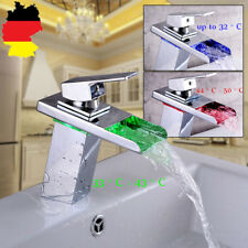 DEL RGB cascade salle de bain évier Mitigeur lavabo robinet en laiton simple tro