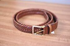 New Brooks Brothers Leather Braided Belt Brown Italy Sz Men's 44 [b36]