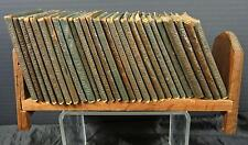 Early 20th Century 25 Green Leather Books - Little Leather Books & Stand
