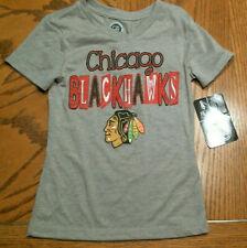 NHL Chicago Blackhawks Girls Gray T-Shirt, Sizes, NEW