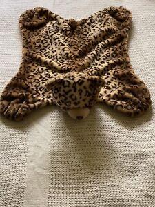 Baby Gund Jayme Comfy Cozy Blanket Brown Leopard Cheetah Print Satin 4043891