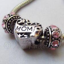 Mom European Heart Charm And Birthstone Beads For Large Hole Charm Bracelets