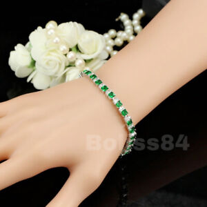 BOLISS Green Emerald White Topaz Square Cut Gemstone Tennis Bracelet Chain Jewel