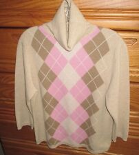 Valerie Stevens 2 Ply 100% Cashmere Argyle Pattern Turtleneck Sweater Womens XL