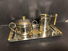 1950 Deco Inox 18-10 Stainless Steel Gb Guido Bergna Bigletti Tray Creamer Sugar