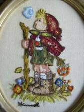 Hummel Little Hiker Boy Walking Stick Finished Crewel Embroidery Framed/Unframed