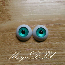 12mm Hand Painting BJD Doll Eyes Pearlized Blue Green Acrylic Half Ball