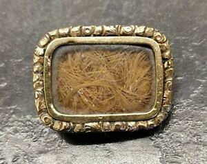 Antique Victorian Rolled Gold Mourning (Hair) Brooch.