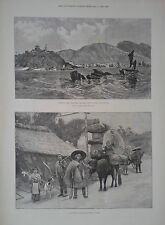 1894 PRINT CHEFOO CHINESE PORT-SCENE IN JAPAN-MAP OF COUNTRIES ADJOINING KOREA