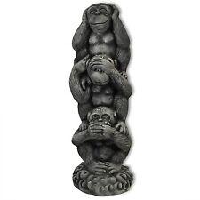Figurines 3 singes de la sagesse, pierre reconstitué, déco jardin, nains (10257)
