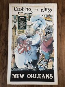 Cooking With Jazz New Orleans Vintage Cooking Poster Creole Chef Music Food 1979