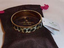 Authentic Kate Spade Leopard Print Gold Plated Bangle Bracelet Dust Bag NWT SALE