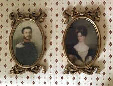 Pair of Antique Style Ornate Gilt Framed Portrait Prints