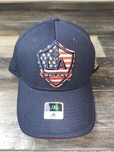 Men's Adidas Los Angeles Galaxy Navy MLS Soccer Structured Flex Fit Hat NWT L/XL