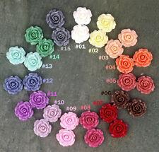 Resin Rose Flower Cabochon Flat Back Plastic Assorted color cabs 102pcs  P227