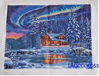 NEW Cross stitch beautiful aurora borealis finished completed cross stitch gifts