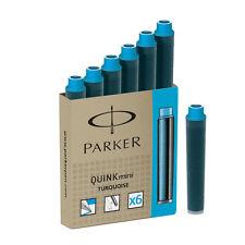 PARKER QUINK MINI TURQUOISE  MINI  INK CARTRIDGES NEW IN BOX  6 CARTRIDGES