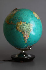 Columbus Globus Glas Holzfuß Chrom Beleuchtung 50er