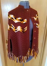 Vintage 70's Hippie Boho One size Brown Crochet Poncho w Buttons Cape Brown