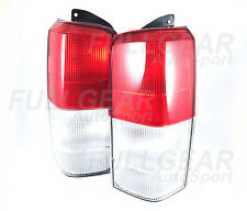 CHROME w/ RED CLEAR LENS OE STYLE TAIL LIGHT SET FOR JEEP CHEROKEE 1997-2001