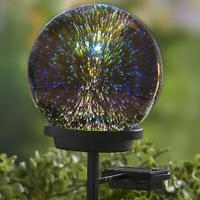 3D Effect Solar Glass Gazing Ball with Stake - Outdoor Garden Accent