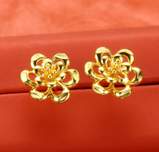 Hot Sell New Fashion Yellow Gold Plated Hollow Out Flower Stud Earrings