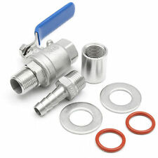 1/2'' Stainless Steel Weldless Compact Ball Valve Barb Homebrew Beer Kettle Kit.