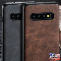 For Samsung Galaxy S10/S9/S8+ Plus Leather Back Ultra Thin Slim TPU Case Cover