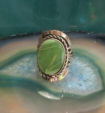 Ring Alpaca Silver Agate Green Stone Ethno Inka Maya Native American Style 25