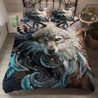 Wolf Dreamcatcher Duvet Cover Set Pillow Case Feather Twin Full Queen King Size