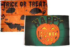 3x5 Happy Halloween 2 Pack Flag Wholesale Set Combo #32 3'x5' Banner Grommets