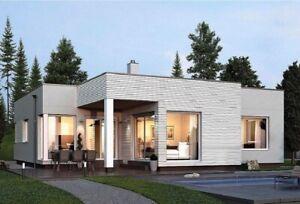 V-533  Custom 3 Bedroom with 3 bathroom modern one story House plan bungalow