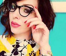Slim Cat Eye Black Clear Fashion Diva Specs Retro Kitty Eye Glasses Frames 1404