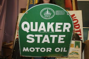 """Original Vintage 1973 Quaker State Motor Oil Gas Station 2 Sided 29"""" Metal Sign"""