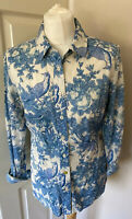 JOULES Bird Floral  Off White and  Teal Blue Top Shirt Tunic Blouse Size 10