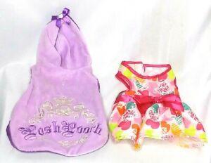 Lulu Pink Dog Clothes Lot of 2 XXS Pink Dress Hearts XS Purple Hoodie Posh Pooch