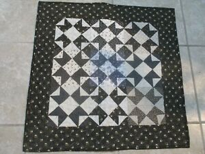 "Hand Made Quilted Table Runner/ Topper /Mat ~ Black, Gray,White ~ 22.5"" x 22.5"""