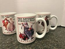 Norman Rockwell Saturday Evening Post Coffee Mug 2002 Christmas set of 3