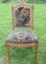 Antique Chair Louis XVI style Carved Wood Brown Authentic Fabric Decorative