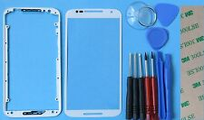 White Genuine Motorola Moto X+1 2nd Gen 2014 Front Outer Screen Glass +Bezel Kit