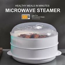2 Tier Microwave Steamer Vegetable Fish Pasta Rice Pot Cooker Cooking Easy Cook