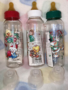 Vintage Gerber Suzy's Zoo Baby Bottles,Christmas Size 9Oz. Latex Nipples!! NOS!!