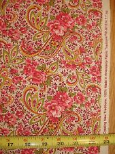 1 YD BTY Pink and Gold Paisley Print on White COTTON FABRIC Traditions Quilt Sew