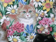 """Daisy Kingdom Spring floral Tabby Cat cotton fabric Flowers 15"""" remnant"""