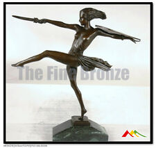 Bronze art deco dancer Female Warrior statue. SIGNED Pierre Le Faguays