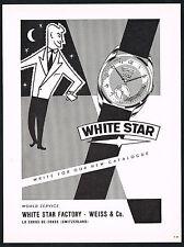 1950s Original Vintage 1956 Weiss White Star Extra Swiss Watch Art Print Ad