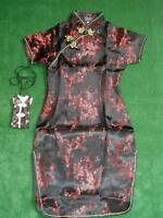 New Girls Satin Floral Chinese Dress in Black Baby Pink Red Hot Pink 9M-16 Year