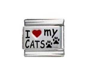 9mm Classic Size Italian Charm  L107  I Love My Cats Fits Classic Size Bracelet