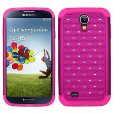 Samsung Galaxy S4 - HARD & SOFT RUBBER CASE HYBRID ARMOR HOT PINK DIAMOND